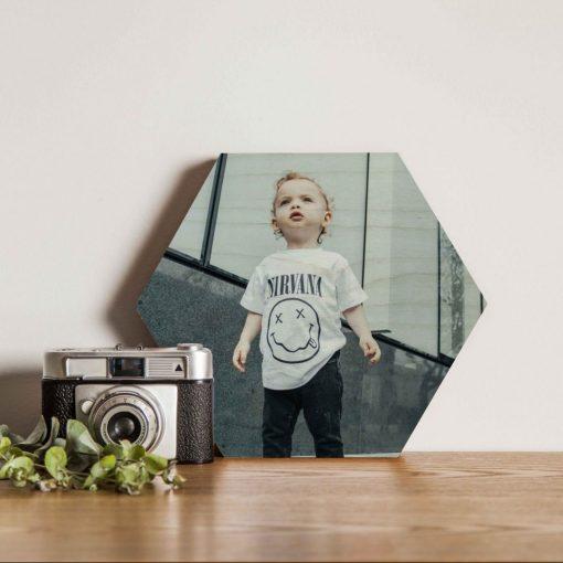 wooden print hexagon