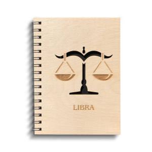 ChitraChaya Zodiac Sign Libra Diary Notebook Wooden Cover