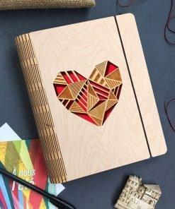 Wooden diary Heart